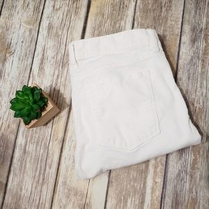 J Crew Midrise Toothpick Cords White Skinny Pants